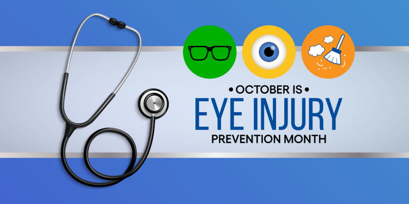 Eye Injury Prevention Month graphic with stethescope and eye related icons